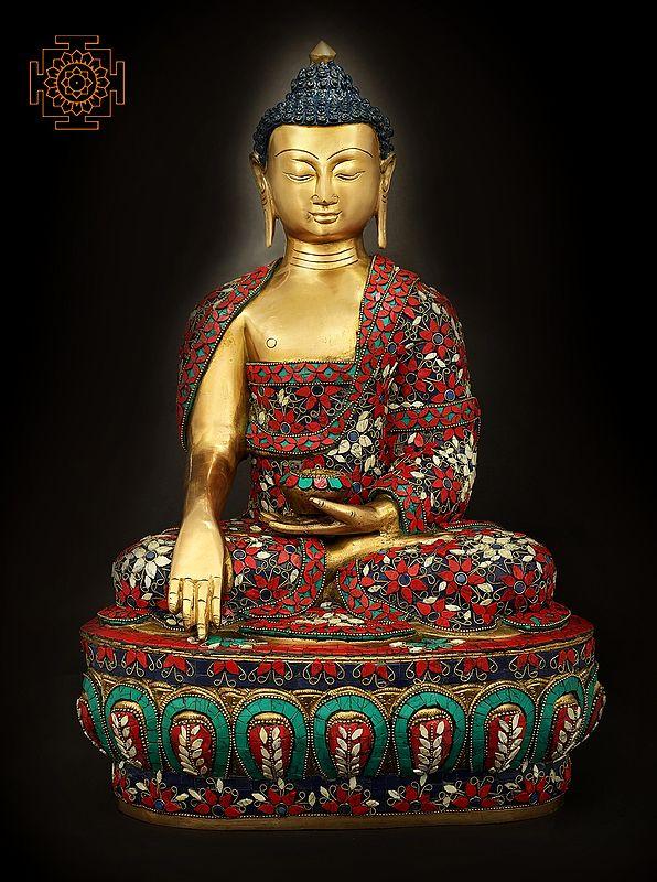 Robed Buddha, His Hand In The Bhoomisparsha Mudra