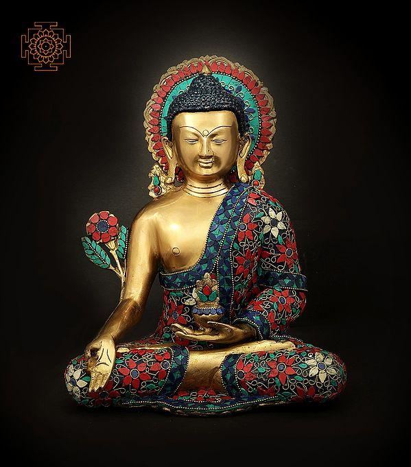 Tibetan Buddhist Finely Inlaid Medicine Buddha