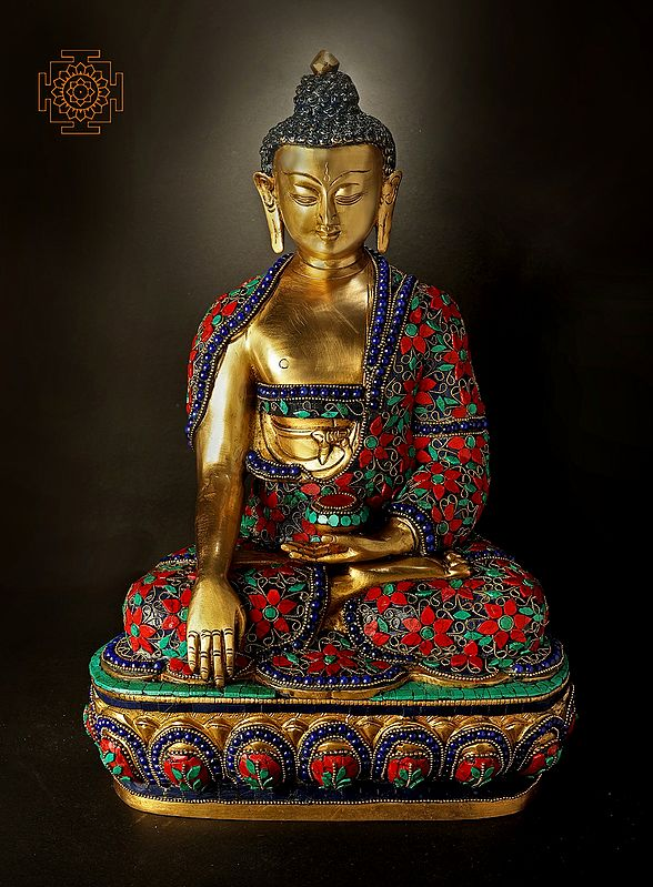 Bhumisparsha Lord Buddha With Excellent Inlay Work