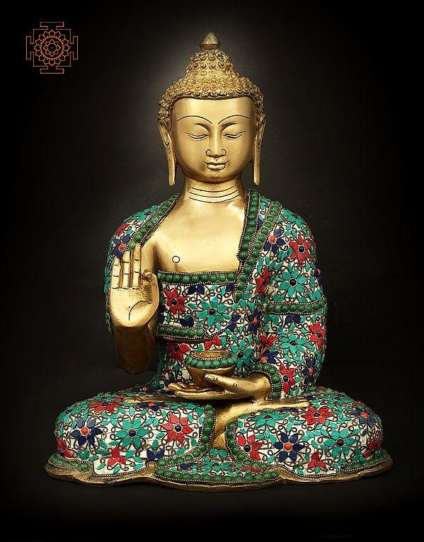 Shakyamuni Buddha With Floral Inlay Stone Work
