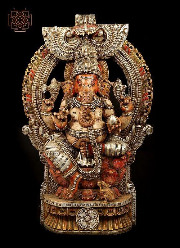 Massive Lord Ganesha Seated on Throne