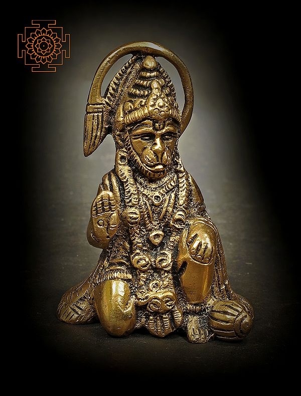 Small Seated Hanuman with The Tail in an Aureole