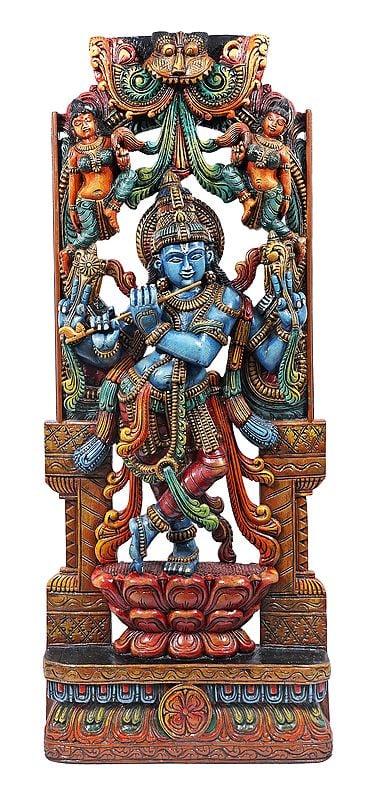 Lord Krishna Playing Flute Standing On Lotus Pedestal