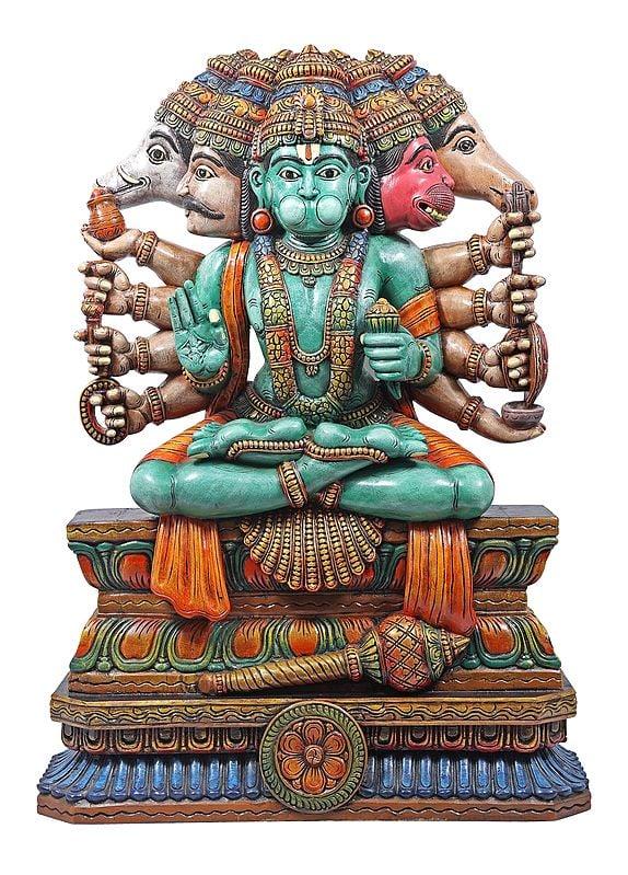 Large Panchmukhi Hanuman in a Yogic Posture