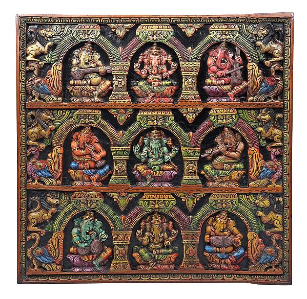 Wood-Carved Panel Of Instrument-Wielding Ganesha Figurines
