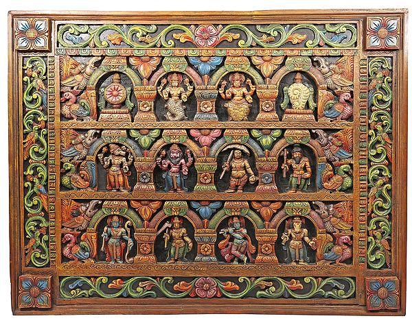 Dashavatara Panel With Mythical Flora And Fauna