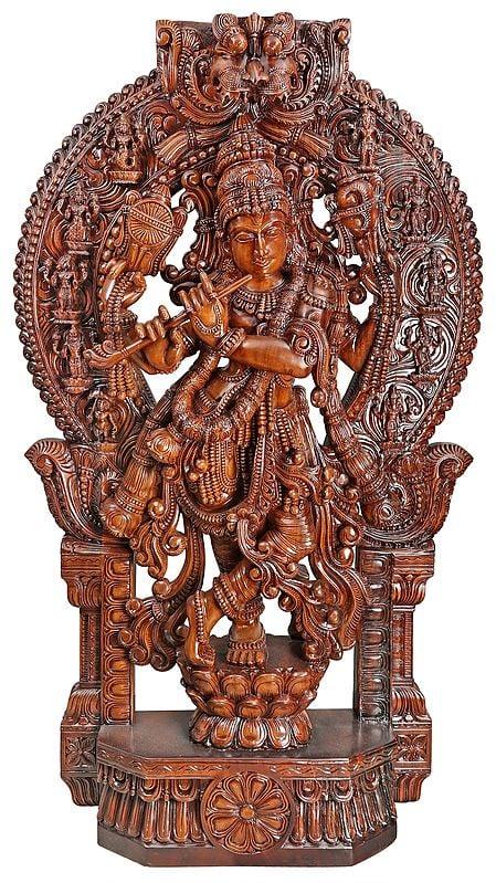 Large Superfine Krishna with Dashavatara Aureole