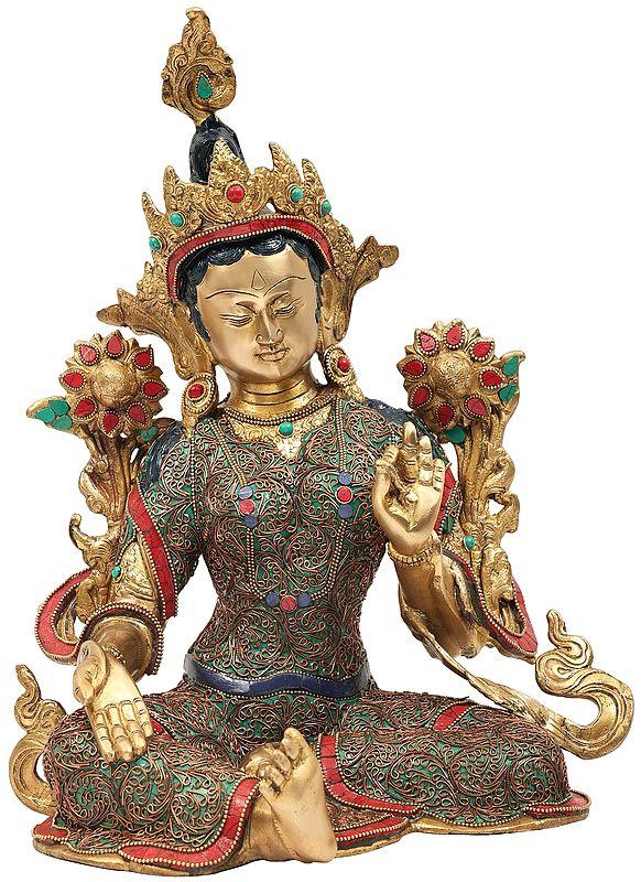 Tibetan Buddhist Green Tara with Superfine Colorful Inlay Work