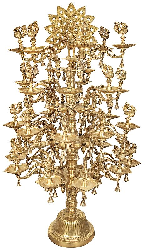 Large Sumptuous Dancing Peacock Annam Lamp with Branching Vines and Bells