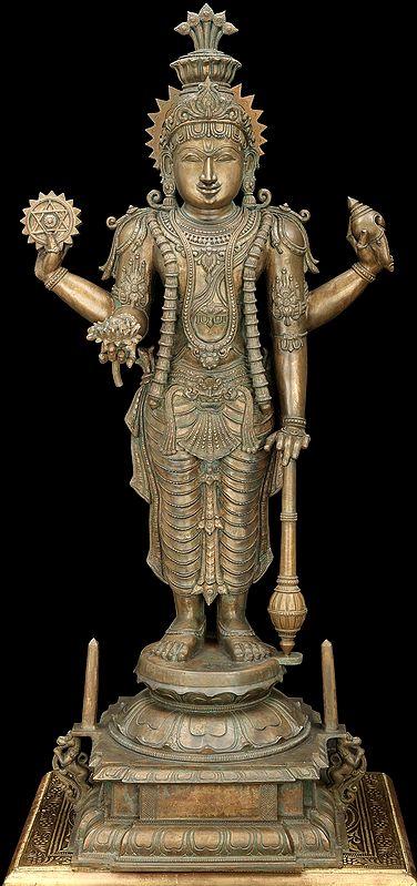 "37.5"" Large Superfine Lord Guruvayurappan (Vishnu) | Handmade | Madhuchista Vidhana (Lost-Wax) | Panchaloha Bronze"