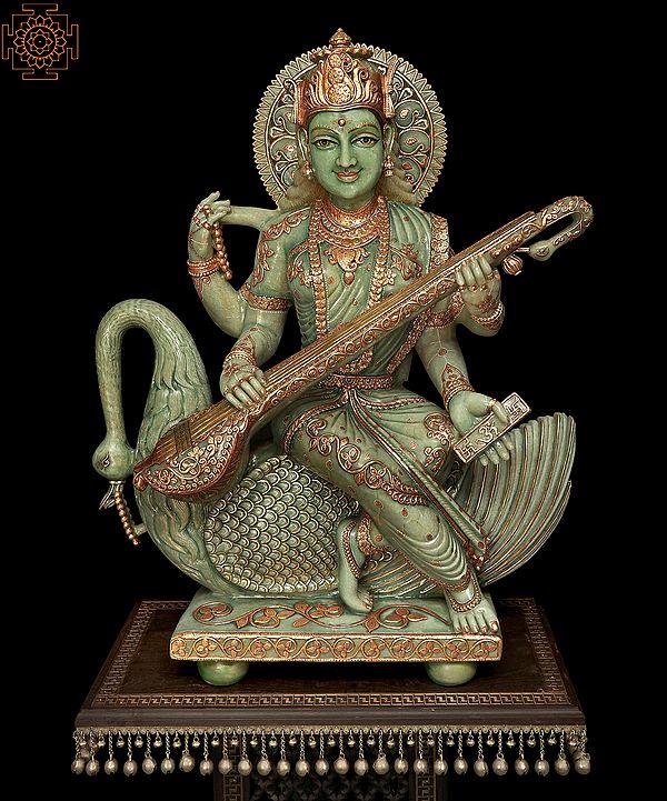 Superfine Large Goddess Saraswati Made of Jade   Signature Piece