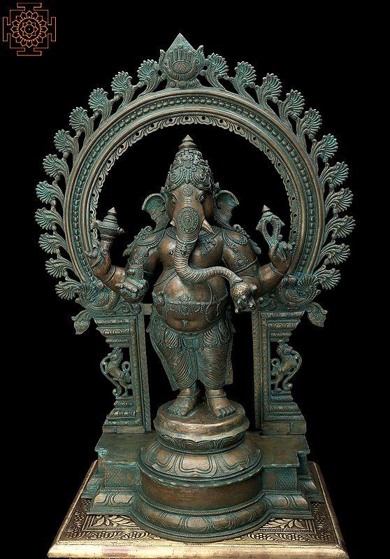 Standing Lord Ganesha with Prabhavali