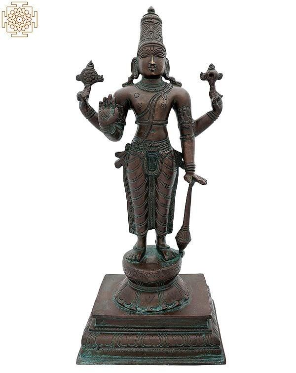 The Radiance Of Standing Chaturbhujadhari Lord Vishnu