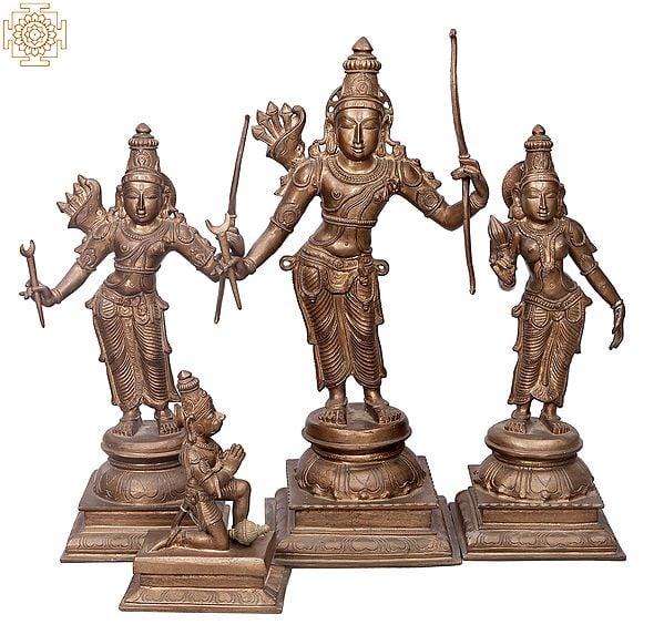 "24"" Rama Darbar (Ramar Set)   Handmade   Madhuchista Vidhana (Lost-Wax)   Panchaloha Bronze from Swamimalai"