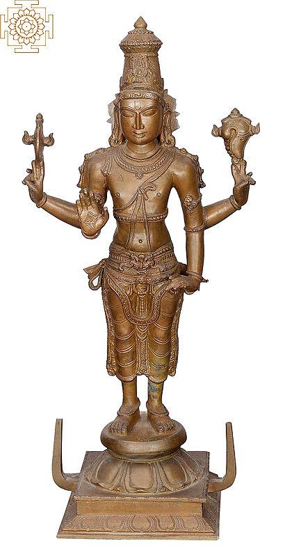 """16"""" Vishnu   Handmade   Madhuchista Vidhana (Lost-Wax)   Panchaloha Bronze from Swamimalai"""