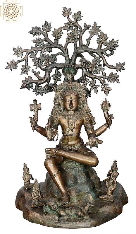 """25"""" Lord Dakshinamurty   Handmade   Madhuchista Vidhana (Lost-Wax)   Panchaloha Bronze from Swamimalai"""
