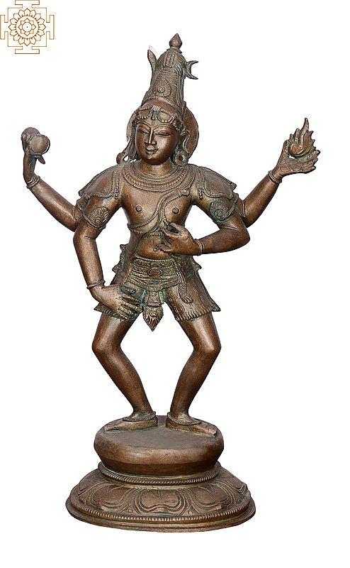"15"" Shiva Tandava | Handmade | Madhuchista Vidhana (Lost-Wax) | Panchaloha Bronze from Swamimalai"