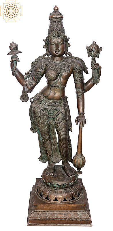 "48"" Half Vishnu & Half Lakshmi (Lakshmi Narayana) | Handmade | Madhuchista Vidhana (Lost-Wax) | Panchaloha Bronze from Swamimalai"