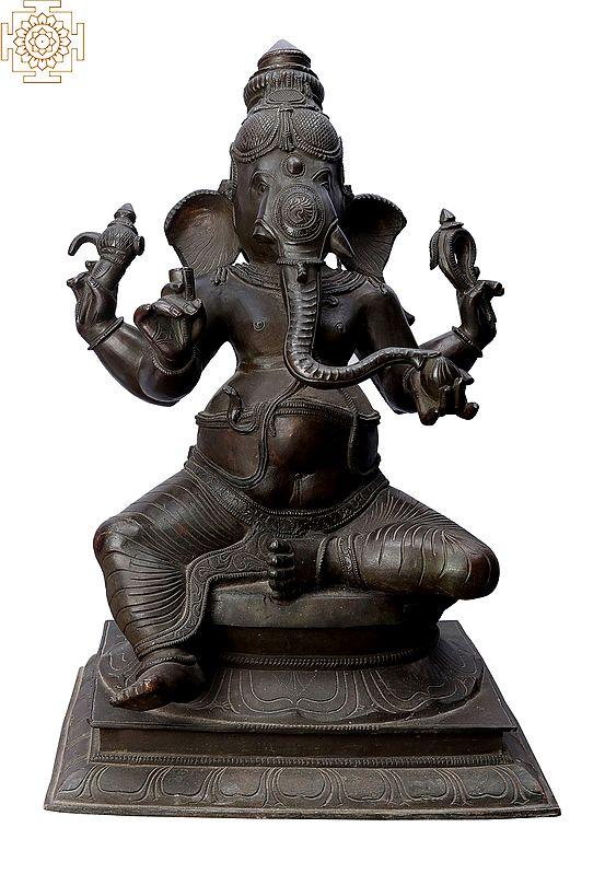 """17"""" Sitting Ganesha   Handmade   Madhuchista Vidhana (Lost-Wax)   Panchaloha Bronze from Swamimalai"""