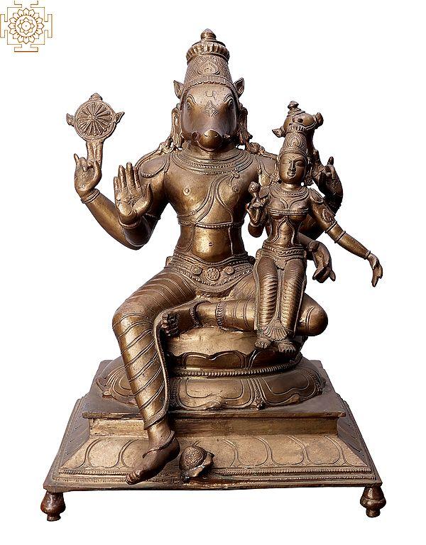 "15"" Varaha with Sri Lakshmi | Handmade | Madhuchista Vidhana (Lost-Wax) | Panchaloha Bronze from Swamimalai"