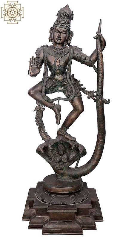 "65"" Super Large Lord Kalinga Krishna | Handmade | Madhuchista Vidhana (Lost-Wax) | Panchaloha Bronze from Swamimalai"