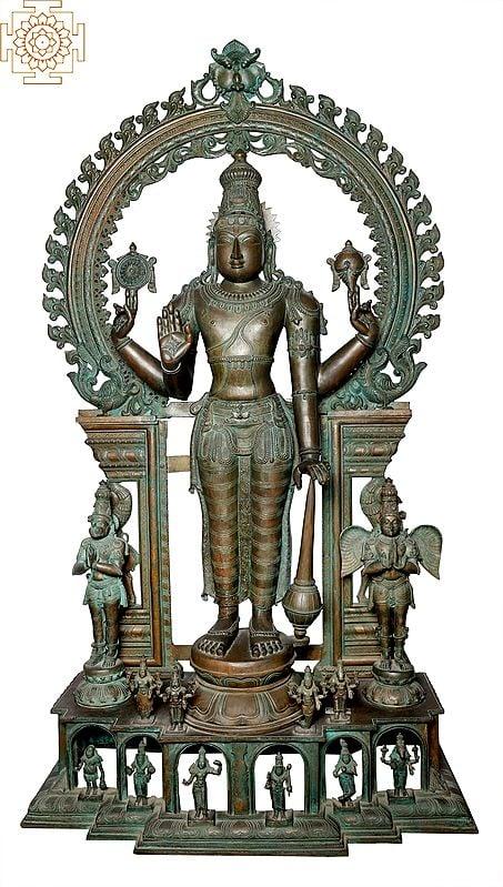"62"" Super Large Perumal with Garuda | Handmade | Madhuchista Vidhana (Lost-Wax) | Panchaloha Bronze from Swamimalai"