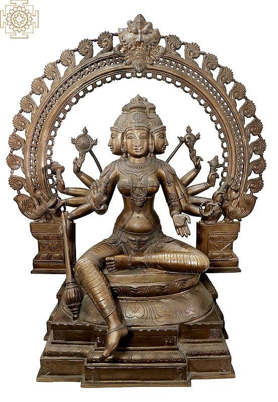 "40"" Large Goddess Sri Gayatri devi | Handmade | Madhuchista Vidhana (Lost-Wax) | Panchaloha Bronze from Swamimalai"