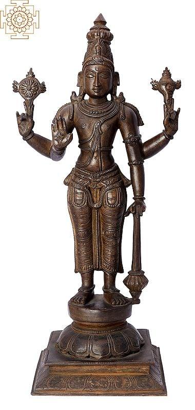 """15"""" Bhagawan Vishnu  Handmade   Madhuchista Vidhana (Lost-Wax)   Panchaloha Bronze from Swamimalai"""