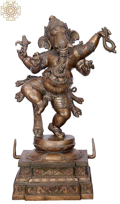 "30"" Dancing Ganesha | Handmade | Madhuchista Vidhana (Lost-Wax) | Panchaloha Bronze from Swamimalai"