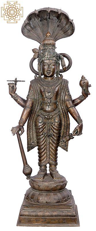 """43"""" Large Standing Vishnu   Handmade   Madhuchista Vidhana (Lost-Wax)   Panchaloha Bronze from Swamimalai"""