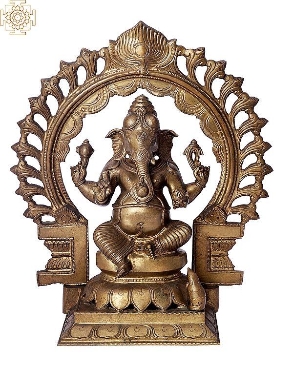 "12"" Sitting Bhagawan Ganesha with Arch   Handmade   Madhuchista Vidhana (Lost-Wax)   Panchaloha Bronze from Swamimalai"