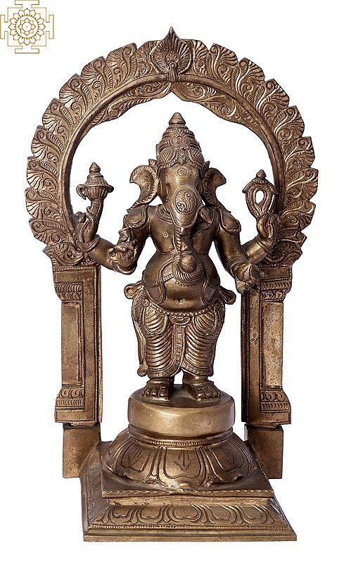 """14"""" Standing Bhagawan Ganesha   Handmade   Madhuchista Vidhana (Lost-Wax)   Panchaloha Bronze from Swamimalai"""