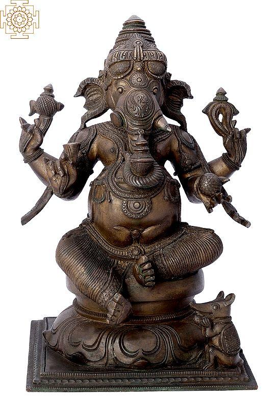"12"" Sitting Lord Ganesha   Handmade   Madhuchista Vidhana (Lost-Wax)   Panchaloha Bronze from Swamimalai"