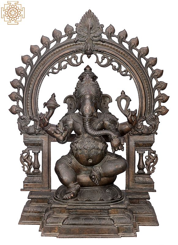 "29"" Bhagawan Ganesha with Big Arch   Handmade   Madhuchista Vidhana (Lost-Wax)   Panchaloha Bronze from Swamimalai"