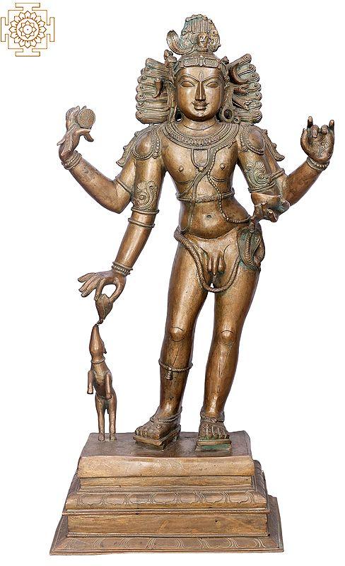 "39"" Bhikshasthana Shiva (Pitchandaver)   Handmade   Madhuchista Vidhana (Lost-Wax)   Panchaloha Bronze from Swamimalai"