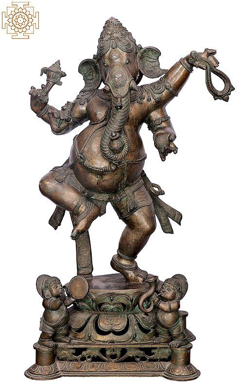 "33"" Large Dancing Ganesha | Handmade | Madhuchista Vidhana (Lost-Wax) | Panchaloha Bronze from Swamimalai"