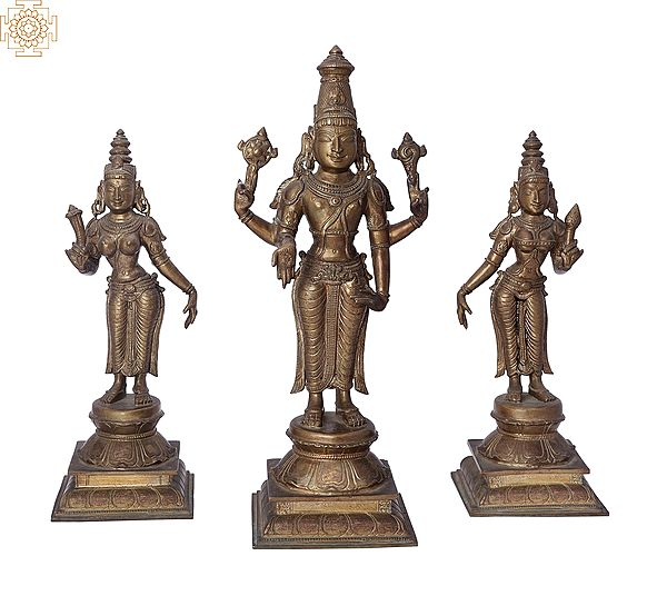 "12"" Perumal with Sri Devi and Bhu Devi Bronze Set | Handmade | Madhuchista Vidhana (Lost-Wax) | Panchaloha Bronze from Swamimalai"