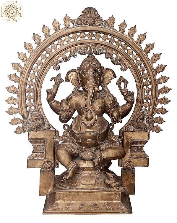 "19"" Bhagawan Ganesha with Designer Big Arch | Handmade | Madhuchista Vidhana (Lost-Wax) | Panchaloha Bronze from Swamimalai"