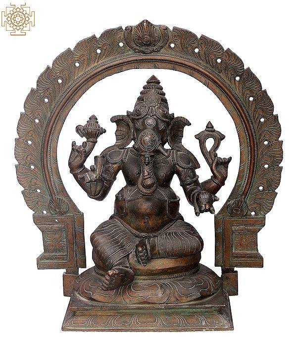 """18"""" Sitting Bhagawan Ganesha   Handmade   Madhuchista Vidhana (Lost-Wax)   Panchaloha Bronze from Swamimalai"""