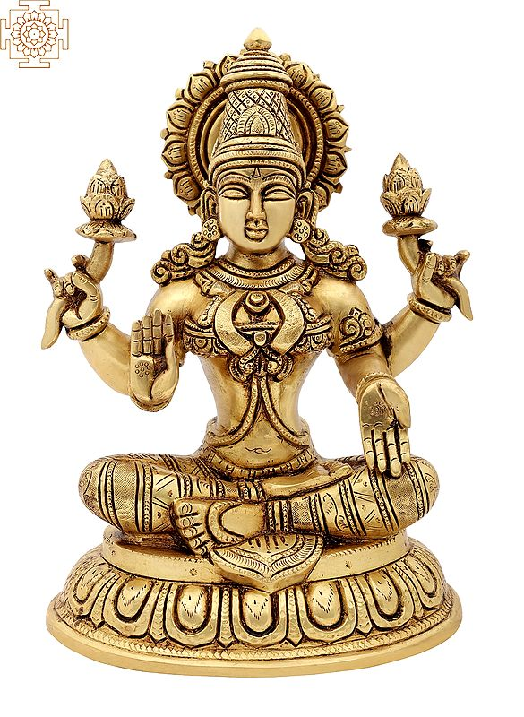 "10"" Ardhapadmasana Chaturbhuja Dharini Lakshmi | Brass Statue | Handmade | Made In India"