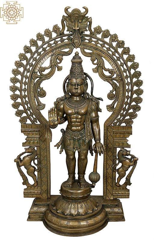 "45"" Large Ashirwad Anjaneya (Hanuman Ji) with Kirtimukha Prabhavali  Handmade   Madhuchista Vidhana (Lost-Wax)   Panchaloha Bronze from Swamimalai"