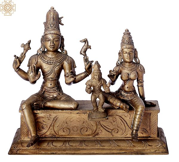 "8"" Somaskanda   Handmade   Madhuchista Vidhana (Lost-Wax)   Panchaloha Bronze from Swamimalai"