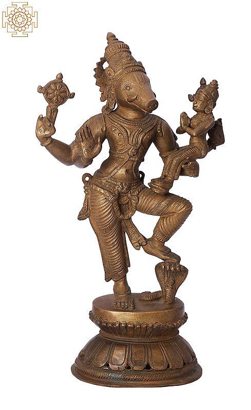 """10"""" Standing Bhagawan Varaha with Bhudevi   Handmade   Madhuchista Vidhana (Lost-Wax)   Panchaloha Bronze from Swamimalai"""