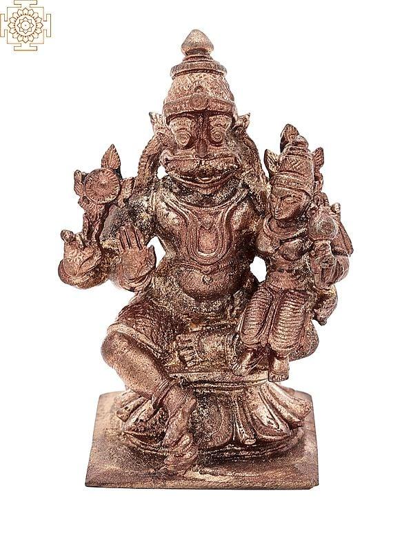"3"" Small Bhagawan Narasimha with Lakshmi Ji | Handmade | Madhuchista Vidhana (Lost-Wax) | Panchaloha Bronze from Swamimalai"