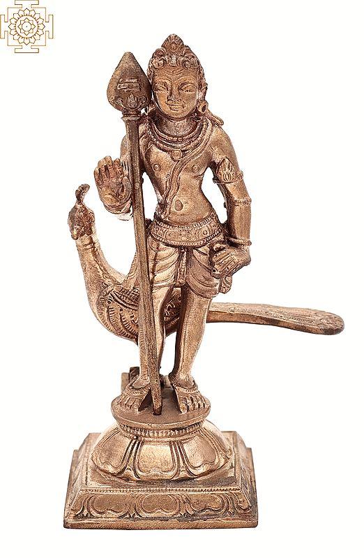 """4"""" Small Kartikeya (Murugan)   Handmade   Madhuchista Vidhana (Lost-Wax)   Panchaloha Bronze from Swamimalai"""