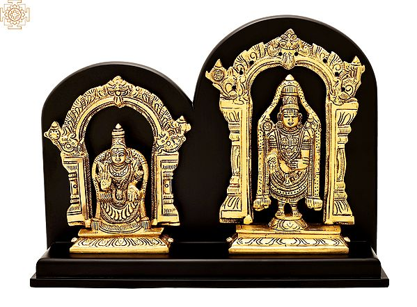 "9"" Lord Venkateswara as Balaji At Tirupati With Goddess Lakshmi   Brass Statue With Wood   Handmade   Made In Indi"