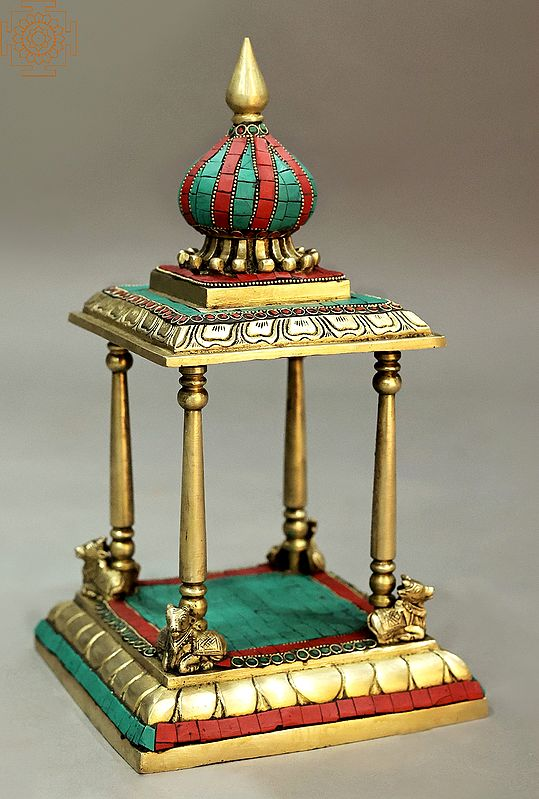 """13"""" Brass with colorful inlay work temple 
