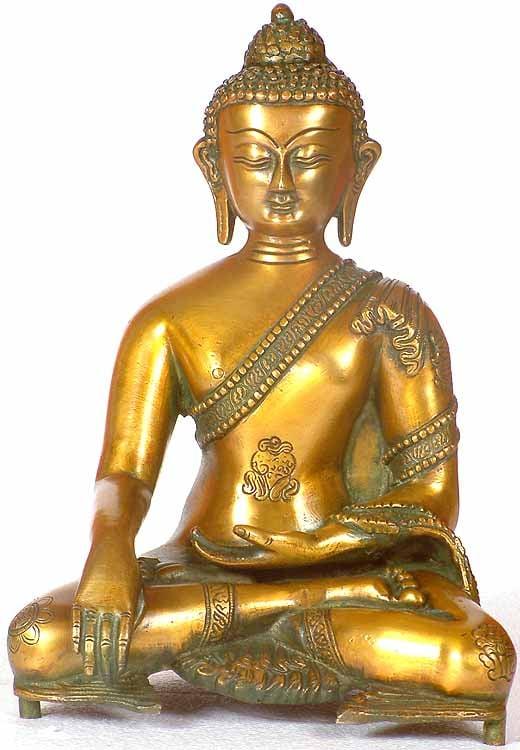 Buddha in Bhumisparsha Mudra with the Eight Auspicious Symbols on His Robe
