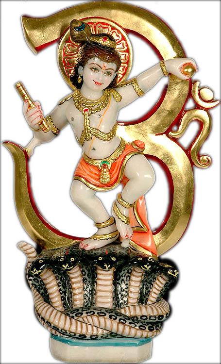 Krishna Vanquishes Kaliya with Om Background