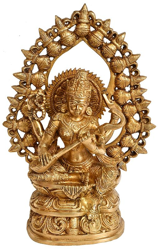 Goddess Saraswati with Prabhavali Made of Kalash